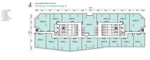 Q Sentral Low Zone Strata Office Floor Plan