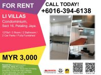 For Rent: Li Villas, Section 16, Petaling Jaya (Furnished) – MYR3000